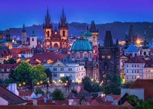 Picture Building Evening Czech Republic Prague Dome Cities