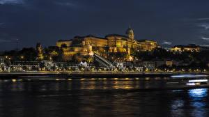 Wallpaper Hungary Budapest Building Rivers Night