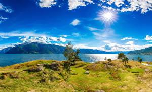 Hintergrundbilder Island Flusse Küste Himmel Landschaftsfotografie Sonne Wolke Gras Natur