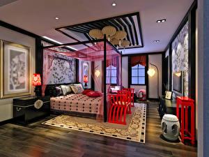 Photo Interior Design Bedroom Bed Rug Ceiling