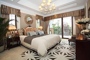 Wallpaper Interior Design Bedroom Bed Chandelier Pillows