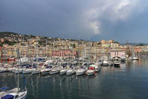 Picture Italy Houses Marinas Sailing Yacht Bay Genova Cities