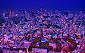 壁纸、、日本、東京都、建物、夕、メガロポリス、都市