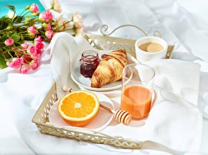 Wallpaper Juice Varenye Orange fruit Croissant Coffee Breakfast Highball glass Jar Cup Food