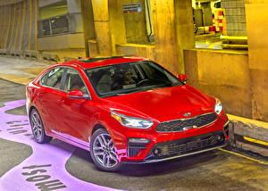 Hintergrundbilder KIA Rot Metallisch 2019 Forte Autos
