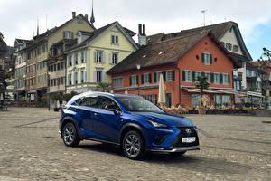 Hintergrundbilder Lexus Blau Metallisch 2017-18 NX 300 F SPORT Worldwide Autos