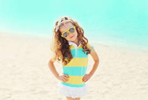 Wallpaper Little girls Glasses Glance Hands Children