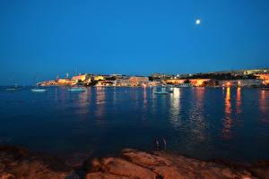 Pictures Malta Building Pier Bay Night time Moon Valletta Cities