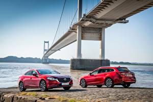 Bilder Mazda Zwei Rot Metallisch 2012-18 Mazda 6 Autos