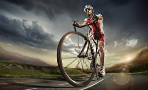 Fotos Mann Fahrrad Uniform Rad