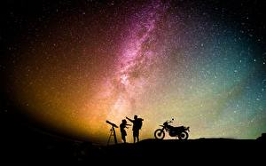 Bilder Mann Stern Himmel Silhouette Motorradfahrer Nacht Mädchens