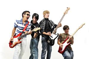 Bilder Mann Weißer hintergrund Gitarre Jugendlich