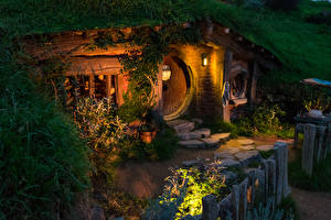 Picture New Zealand Parks Houses Evening Street lights Hobbit House Matamata Cities