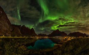 Photo Norway Mountains Lake Sky Night Clouds Polar light Reine