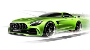 Hintergrundbilder Gezeichnet Mercedes-Benz Gelbgrüne Weißer hintergrund AMG GT3 C190 Autos