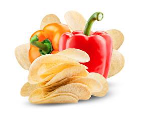 Hintergrundbilder Peperone Weißer hintergrund Kartoffelchips Lebensmittel