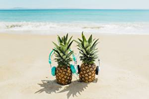 Pictures Pineapples Headphones Beach 2