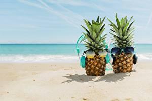 Pictures Pineapples Sea Eyeglasses Headphones Beach Sand
