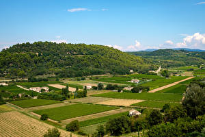 Wallpapers Provence France Fields Houses Hill Nature