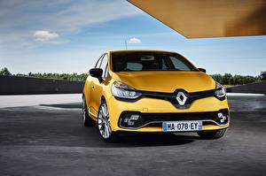 Papel de Parede Desktop Renault Amarelo Na frente 2016 Clio R.S. 200 Carros