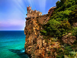 Fotos Russland Krim Burg Meer Felsen Castle Swallow Städte