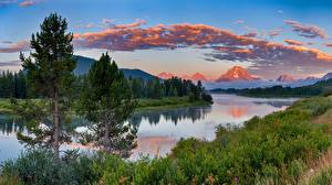 Fotos Landschaftsfotografie Abend Flusse Gebirge USA Gras Bäume Grand Teton Natur