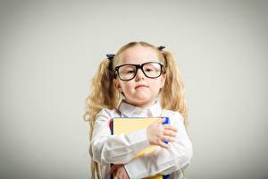 Pictures School Gray background Little girls Glasses Staring Hands Children