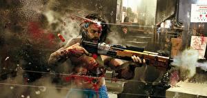 Fotos Flinte Cyberpunk 2077 Schuss Blut Cyborgs Fanart Spiele