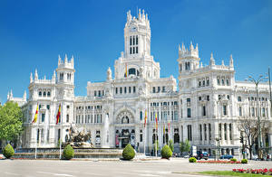 Bilder Spanien Madrid Springbrunnen Denkmal Palast Straßenlaterne Cybele Palace Städte