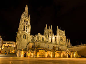 Pictures Spain Temple Church Night time Burgos Cities