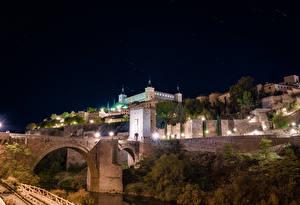Hintergrundbilder Spanien Toledo Gebäude Brücken Nacht Straßenlaterne Städte