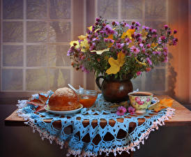 Pictures Still-life Bouquets Asters Coffee Buns Jam Table Vase Cup Food Flowers