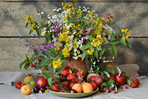 Picture Still-life Bouquets Camomiles Peaches Apricot Cherry Fruit Strawberry Raspberry Food Flowers