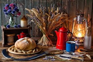 Hintergrundbilder Stillleben Sträuße Petroleumlampe Brot Ähre Kanne Becher Flasche Lebensmittel