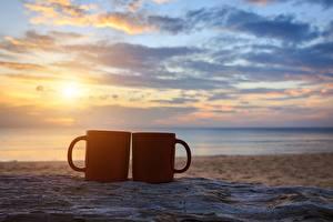 Wallpaper Sunrises and sunsets Sky Sea Mug Two Beaches Sand Nature