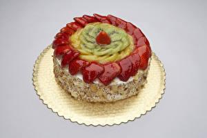 Bilder Süßware Torte Erdbeeren Kiwi Grauer Hintergrund Lebensmittel