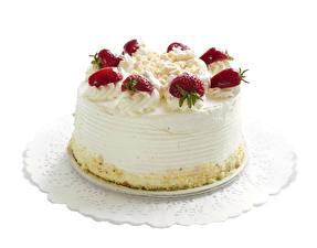 Hintergrundbilder Süßigkeiten Torte Erdbeeren Weißer hintergrund Lebensmittel
