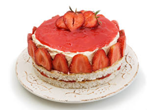 Pictures Confectionery Cakes Strawberry White background Plate Food