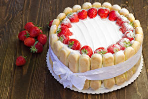 Bilder Süßware Torte Erdbeeren Bretter Design Schleife