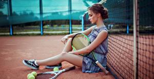 Bilder Tennis Sitzt Schön Bein Sportnetze Anna Golub Sport Mädchens