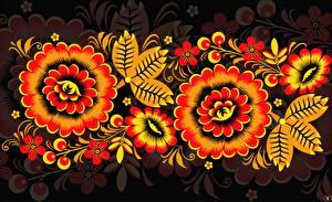Hintergrundbilder Textur Russische Khokhloma Blumen