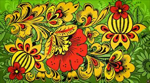Bilder Textur Russische Khokhloma Blumen