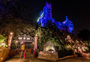 Pictures USA Disneyland Parks Houses California Anaheim Design Night time Gate Street lights Cities