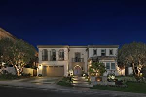 Fotos USA Haus Kalifornien Herrenhaus Design Nacht Treppe Garage Yorba Linda Städte