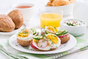 Fotos Gemüse Frühstück Teller Ei