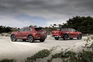 Bakgrundsbilder på skrivbordet Volkswagen Röd Pickup SUV 2018 Atlas Tanoak Concept, Atlas Cross Sport Bilar