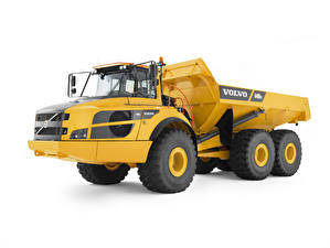 Pictures Volvo Lorry White background Yellow 2014-17 A40G FS Cars