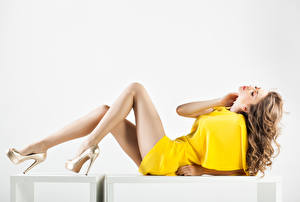 Wallpapers White background Brown haired Gown Legs Stilettos Beautiful Girls