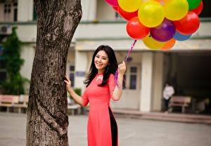 Image Asian Smile Beautiful Balloons Brunette girl Trunk tree young woman