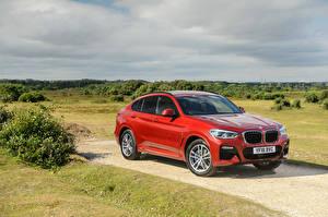 Hintergrundbilder BMW Rot 2018 X4 xDrive20d M Sport Autos